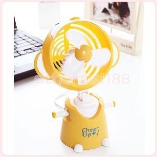 Portable Mini Hand Held Travel Fan USB / Battery Powered Cute Happy