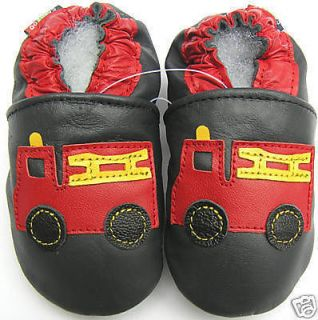soft sole leather kids shoes fire truck dark blue 6 7 years old