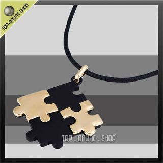 Teenager Jewelry AUTISM AWARENESS Black Gold PUZZLE Pendant Necklace