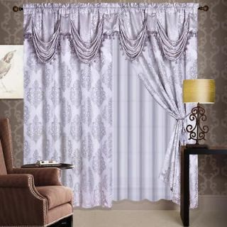 Luxury Silver Jaquard Panel Valance Curtain Drapes Window Set New