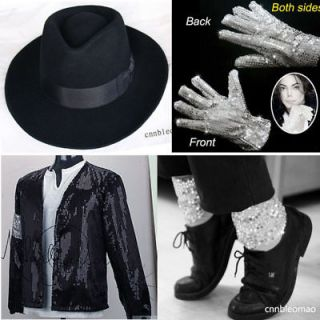 4PCS MICHAEL JACKSON Billie Jean Jacket+Hat+Glo​ve+Socks