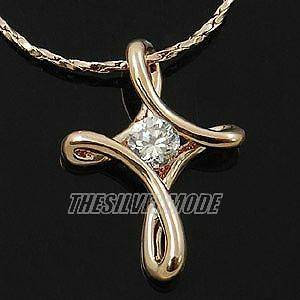 18K Rose Gold Plated Cross Pendant Necklace 10919