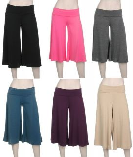 TRUE PLUS SIZE Rollover WIDE LEG crop capri PALAZZO GAUCHO pants 1X 2X