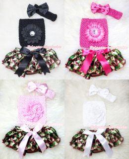Newborn Baby Girl Fatigues Camo Bloomer Pantie Crochet Tube Top 3PC