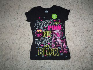 NEW GIRLS BETTER IN BLACK MONSTER HIGH T/SHIRT SIZE S (6/6X)