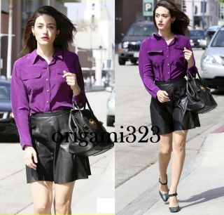 Signature washed Silk Blouse Shirt Purple XS/S/M/0/2/4/6 $208