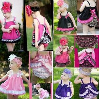Kids Baby Girls Ruffle Tops + Pants Set Bloomers Outfit Dress Nappy