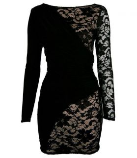 Drape And Lace Detail Bodycon Dress with Beige Lining in Black,Size S