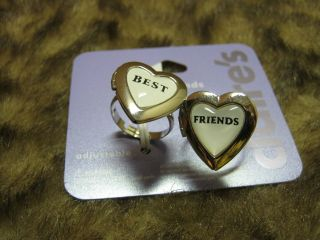 new best friends heart locket rings adjustable BFF jewelry friendship