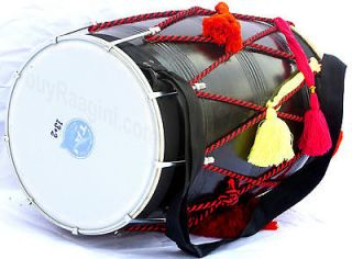 FOR SALE PUNJABI BLACK MANGO WOOD DHOL~INDIAN DRUM~WEDDING DHOL~18~CE