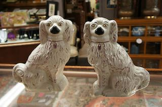 Antique Staffordshire Chelsea Spaniel Dog Porcelain Puppy Pair 15