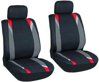 Piece Red, Gray, & Black Front Car Seat Cover Set Bucket Chairs Free