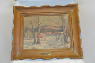 ROBERT WOOD ART PAINTING WOOD FRAME SNOW IN THE CATSKILLS (4057)