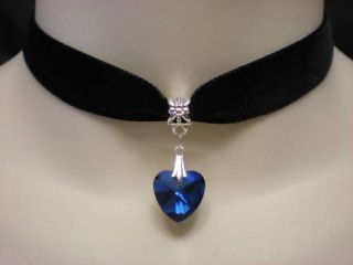BLACK VELVET 16mm CHOKER/NECKLACE BLUE FOIL BACK GLASS HEART PENDANT