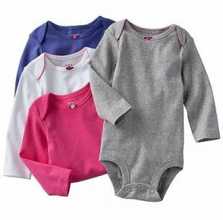 NWT Carters Baby Girl Clothes 4 Bodysuits Pink Purple Gray 3 6 9 12 18