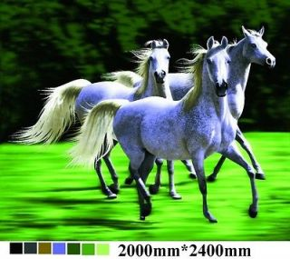 White Running Horses, super plush queen mink blanket warm and soft
