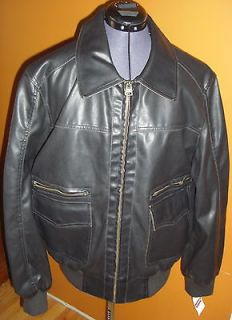 LARGE BROWN FAUX LEATHER MENS MOTORCYCLE BOMBER JACKET COAT $130