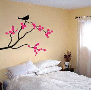 BIRD ON CHERRY BLOSSOM BRANCH   Vinyl Art Wall Decal (2 colors)