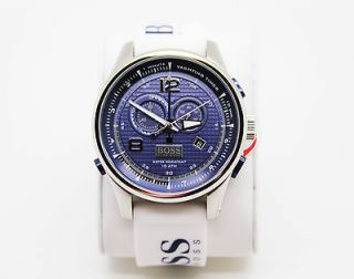 Boss Mens Yachting Timer Blue Dial White Rubber Chronograph Watch