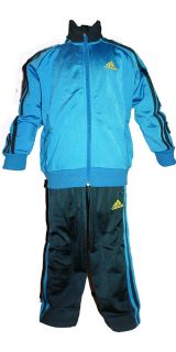 NEW ADIDAS INFANTS BOYS TODDLER KIDS 3 STRIPE SHINY TRACKSUIT BLUE