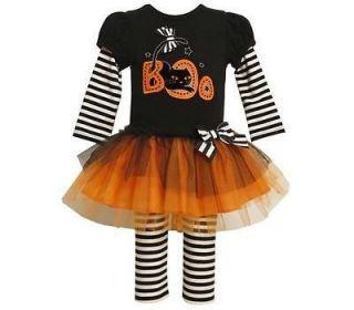 Bonnie Jean Baby Girls Halloween Cat Boo Tutu Skirt Dress Outfit w