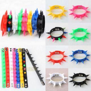 Rivet Spike Studs Silicone Rubber Buckle Cuff Bracelet Wristband