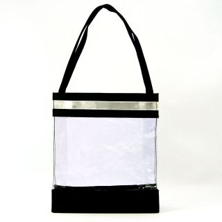 Tote Bag   Clear Vinyl with Black and Silver Trim 10 x 9 x 2½ NEW