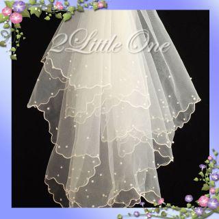 Lot 10X Pcs Ivory Bead Wedding Bridal Flower Girl Communion Veil #401