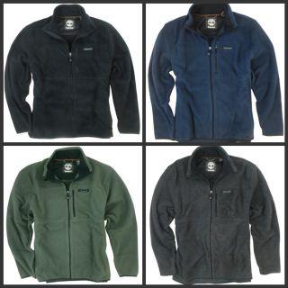 New Timberland Mens Full Zip Polar Fleece Jacket Coat Black Gray