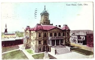 1908 CADIZ Ohio Postcard COURT HOUSE Harrison County