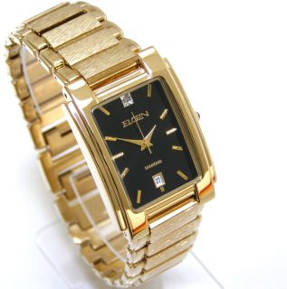 Newly listed ELGIN Diamond Date Black Face Mens Gold Watch