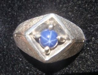 Solid 10K WhIte Gold Brushed Ring Blue Star Sapphire Ring SZ 9&1/2