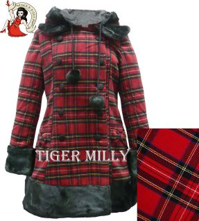 HELL BUNNY fur winter FIONA JANE LONDON TARTAN COAT RED SIZE 8 16