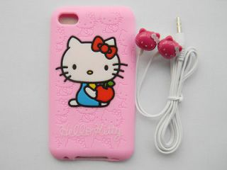 KITTY Earphones + Hello Kitty Silicone Case Cover for IPOD Touch 4 4G