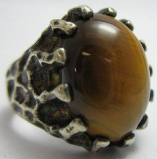 Newly listed Vintage Sterling Silver 925 Tigers Eye Mens Ring Size 9
