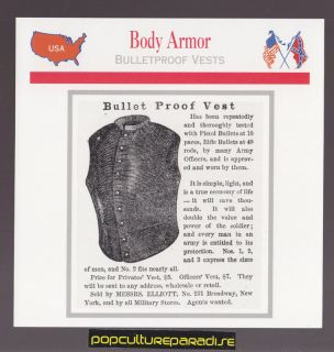 BODY ARMOR USED IN U.S CIVIL WAR HISTORY CARD Bullet Proof Vest