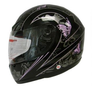 Pink Black Butterfly Motorcycle Full Face Helmet DOT ~S/M/L