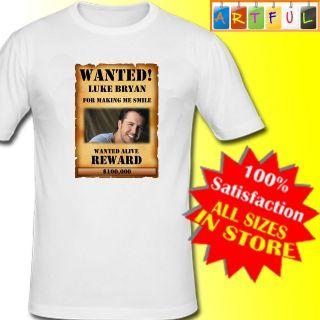 Luke Bryan Wanted Poster T Shirt Unisex new white custom print county