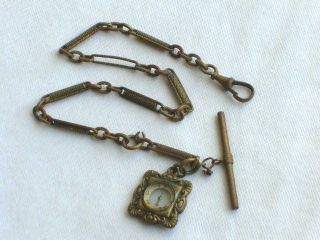 VICTORIAN COMPASS POCKET WATCH CHAIN FOB JEWELRY