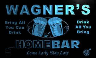 p1171 b Wagners Home Bar Personalized Neon Beer Light Sign