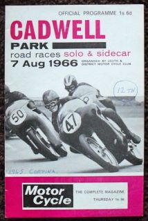 CADWELL PARK SOLO, SIDECAR & FORMULA 3 MOTORCYCLE ROAD RACE PROGRAMME