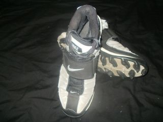 Mens Sz 8 Plastic Built In Cleats NIKE High Top Tie w/ Velcro Strap