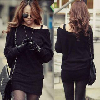 Sexy Korean Womens Batty sleeve Solid Black Mini Sweater Dress Tops