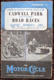 CADWELL PARK SOLO & SIDECAR MOTORCYCLE RACE PROGRAMME AUG 1952