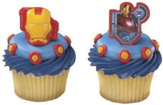 IRON MAN HELMET CUPCAKE RINGS Favors Cake Toppers Decorations Party