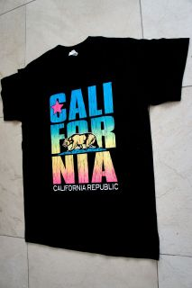 CALIFORNIA REPUBLIC FLAG BEAR CA BLACK T SHIRT MEN S~XL