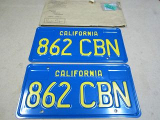 1971 BLUE CALIFORNIA LICENSE PLATES NEVER USED
