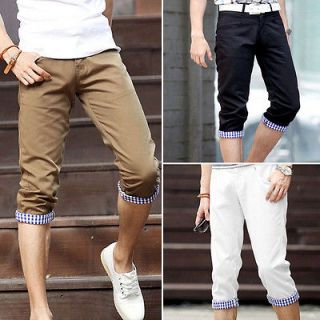 Mens Fashion Designed Casual Slim Fit Cropped Capri Pants Shorts 3
