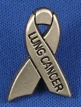 Lung Cancer Pewter Gray Awareness Ribbon Pin Tac NIB