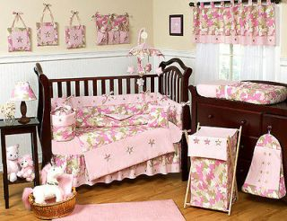 PINK BROWN CAMOUFLAGE BABY GIRL CRIB BEDDING SET FOR NEWBORN SWEET